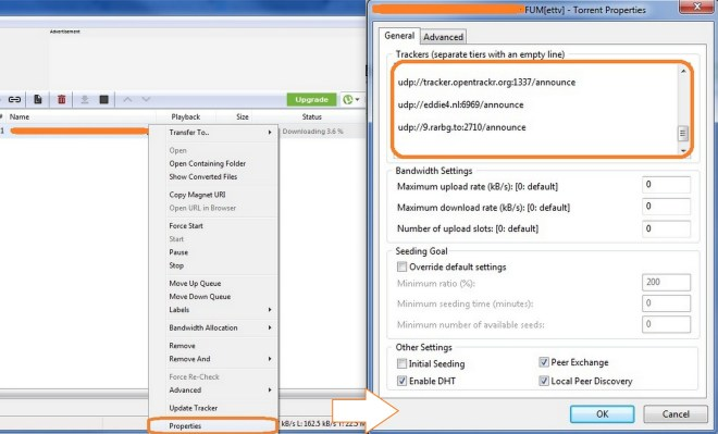 how to add more trackers in utorrent
