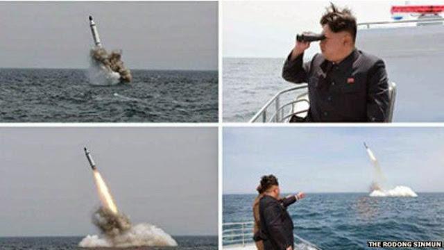 Kantor berita pemerintah Korut melaporkan bahwa rudal muncul diikuti jejak api yang menggelegar.