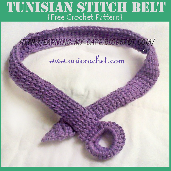 Oui Crochet Tunisian Stitch Belt Free Crochet Pattern