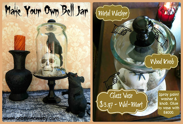glass cloche, DIY glass cloche, DIY bell jar, Halloween decorations, skull, crow