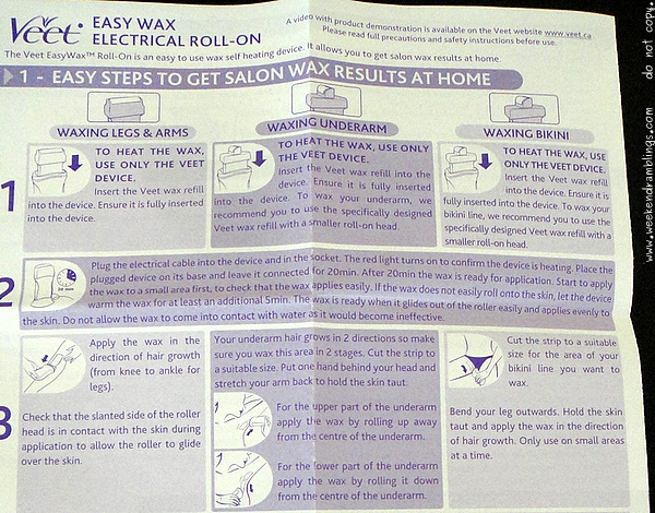 Veet Easywax Electrical Roll-On at home cheap inexpensive hair removal waxing diy instructions how to do use skincare beauty blog