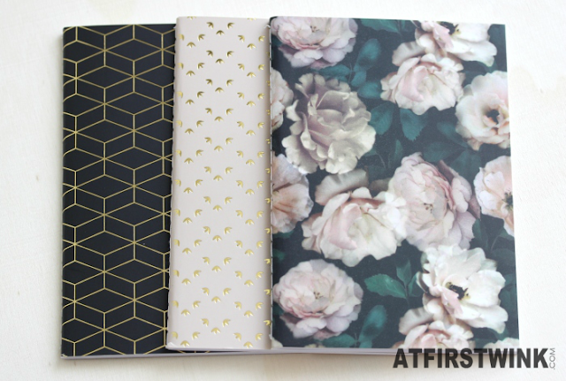 H&M stationery: gold and flower print