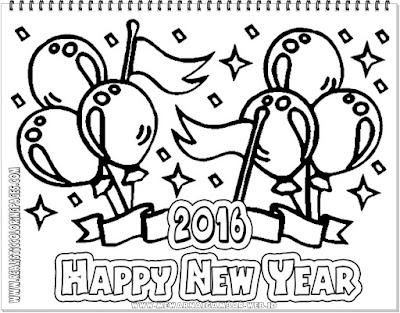 lembar mewarnai tahun baru 2016