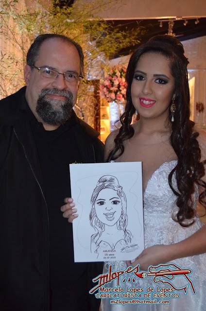 Caricaturista  Marcelo Lopes de Lopes na sua festa