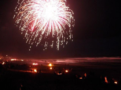 photo of fireworks over rockaway beach oregon