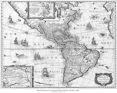 Mapa de América por el cartógrafo Jodocus Hondius, realizado c.1640 m. 5965 X 4528 px, p. 8 MB