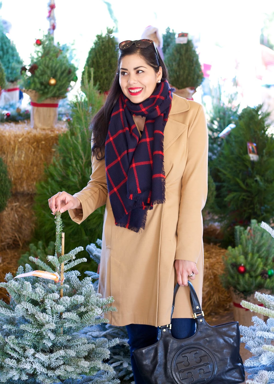 Christmas Tree Shopping, tartan scarf, pinery in bonita, red lips outfit
