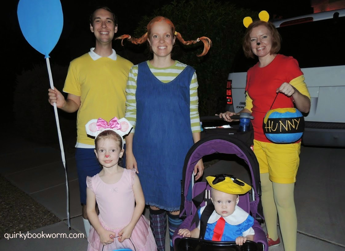 Book Character Costumes - Christopher Robin, Winnie the Pooh, Pippi Longstocking, Angelina Ballerina, and Madeline Trick-or-Treating for Halloween.