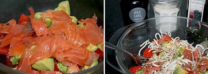 Ensalada de salmón, gulas y aguacate
