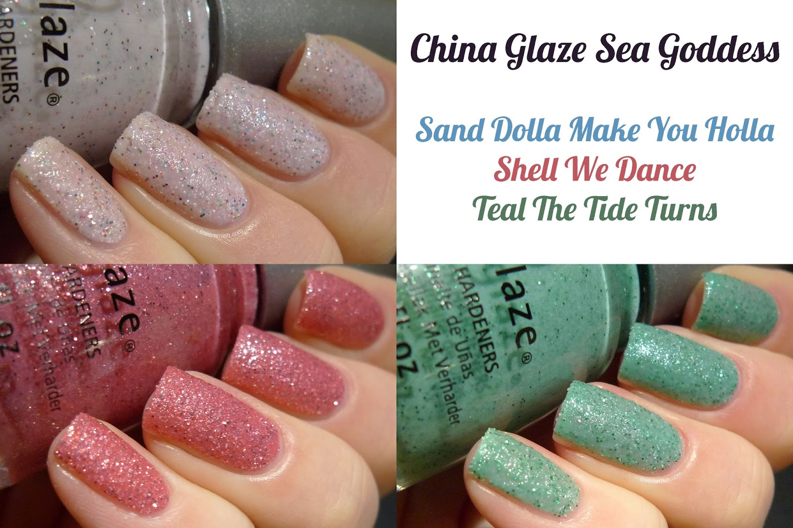 China Glaze Sea Goddess texture nail polish collage