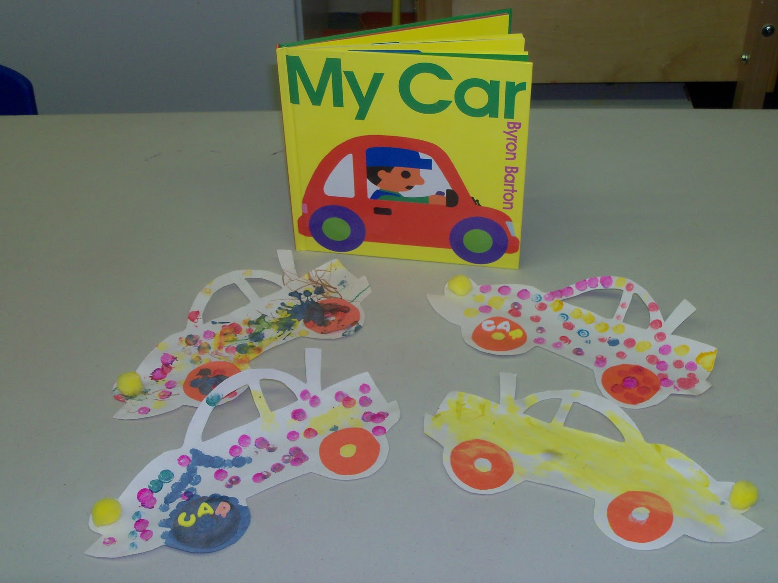 painting with carsgive each child a piece of paper and a car that has paint on it have the kids drive there cars on the paperkids reallly enjoy painting