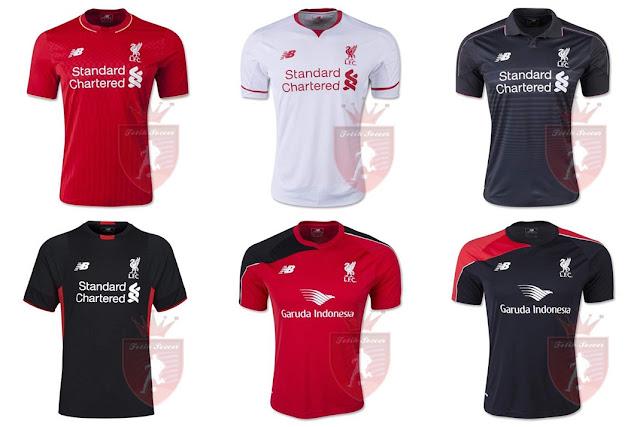Jersey Liverpool Home, Away, Third 2015-2016