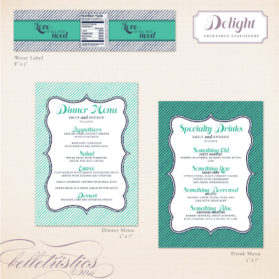 fun modern stripe printable water label drink menu design