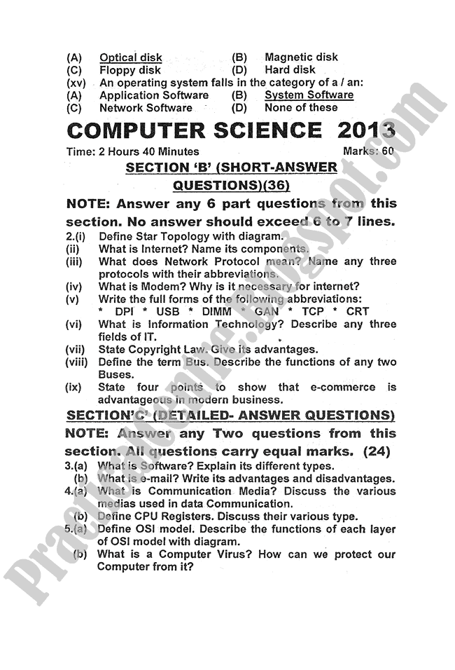 Computer-science-2013-five-year-paper-class-XI