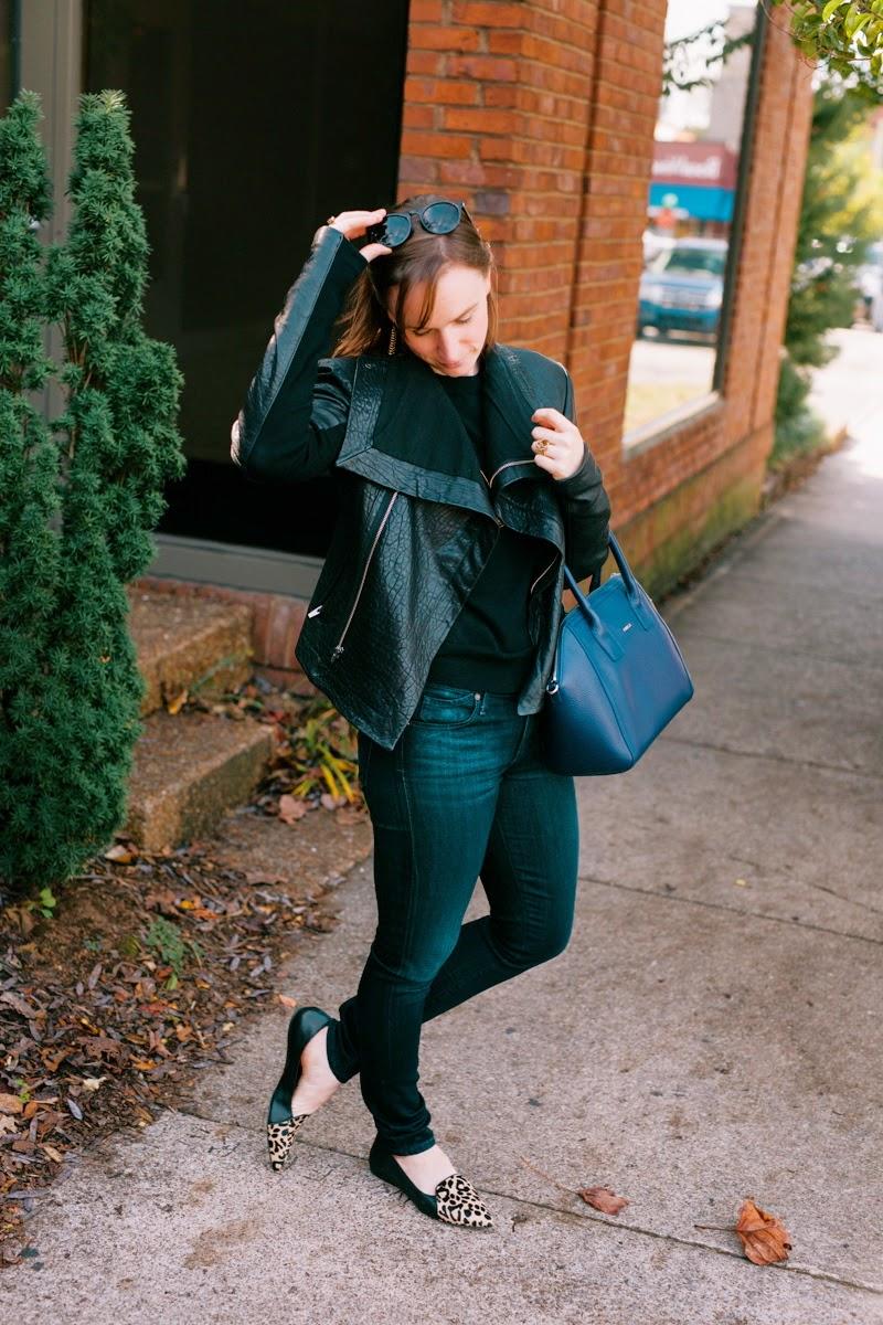 Leather Jacket, Leopard Flats, Dolce Vita Shoes, VEDA, J.Crew Tippi Sweater