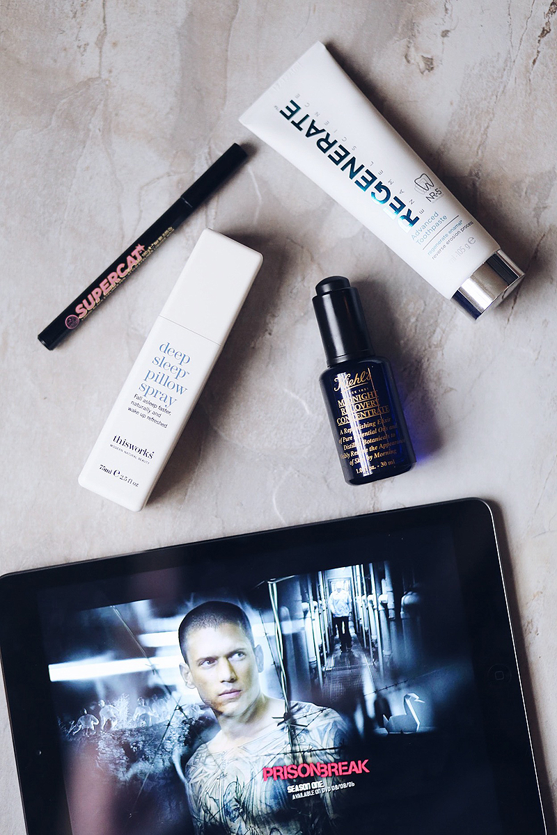 reviews of Soap and Glory's Supercat, Kielh's Midnight Recovery Concentrate, This Works Deep Sleep Pillow Spray and Regenerate Toothpaste.