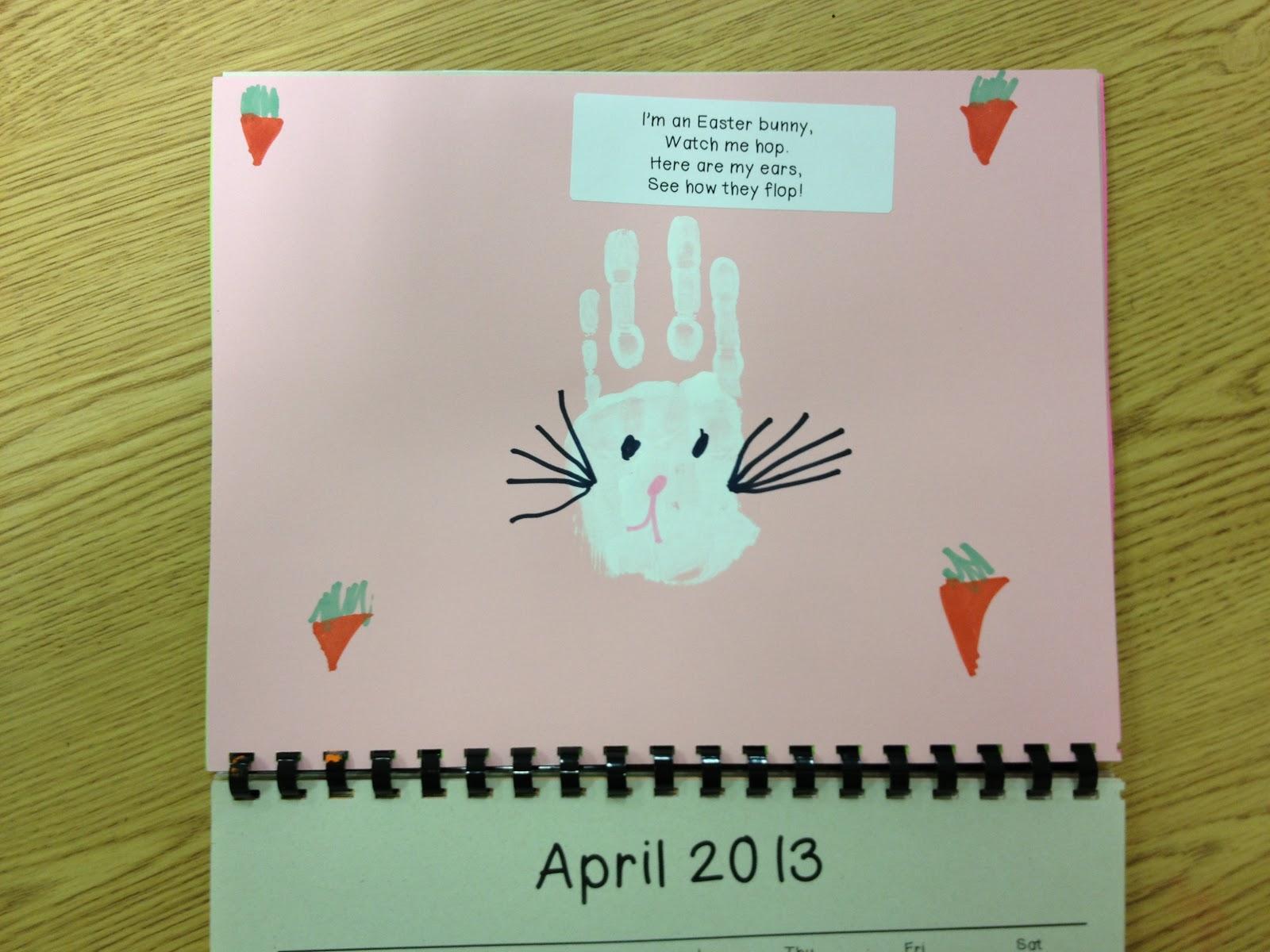 April Handprint Calendar : Gwhizteacher handprint calendar