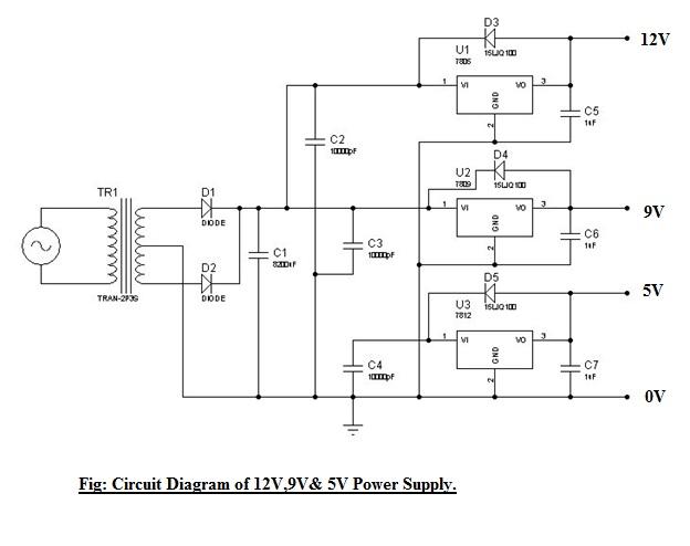 5v 9v 12 V Fixed Dc Power Supply Cuet Eee