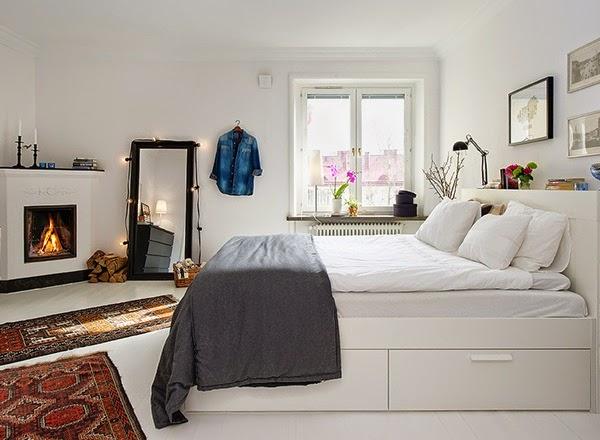 Decoração de quarto de casal em branco