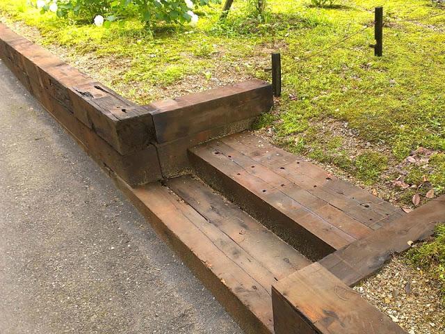 橋枕木 階段 土留め