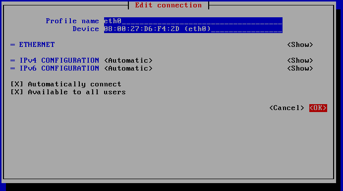 Edit interface eth0