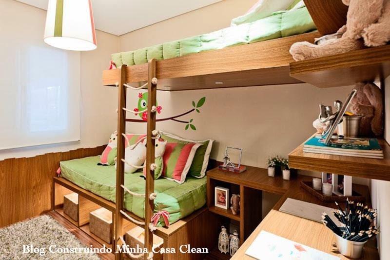 ... Casa Clean: 12 Quartos Fant?sticos de Crian?as com Mesa de Estudo