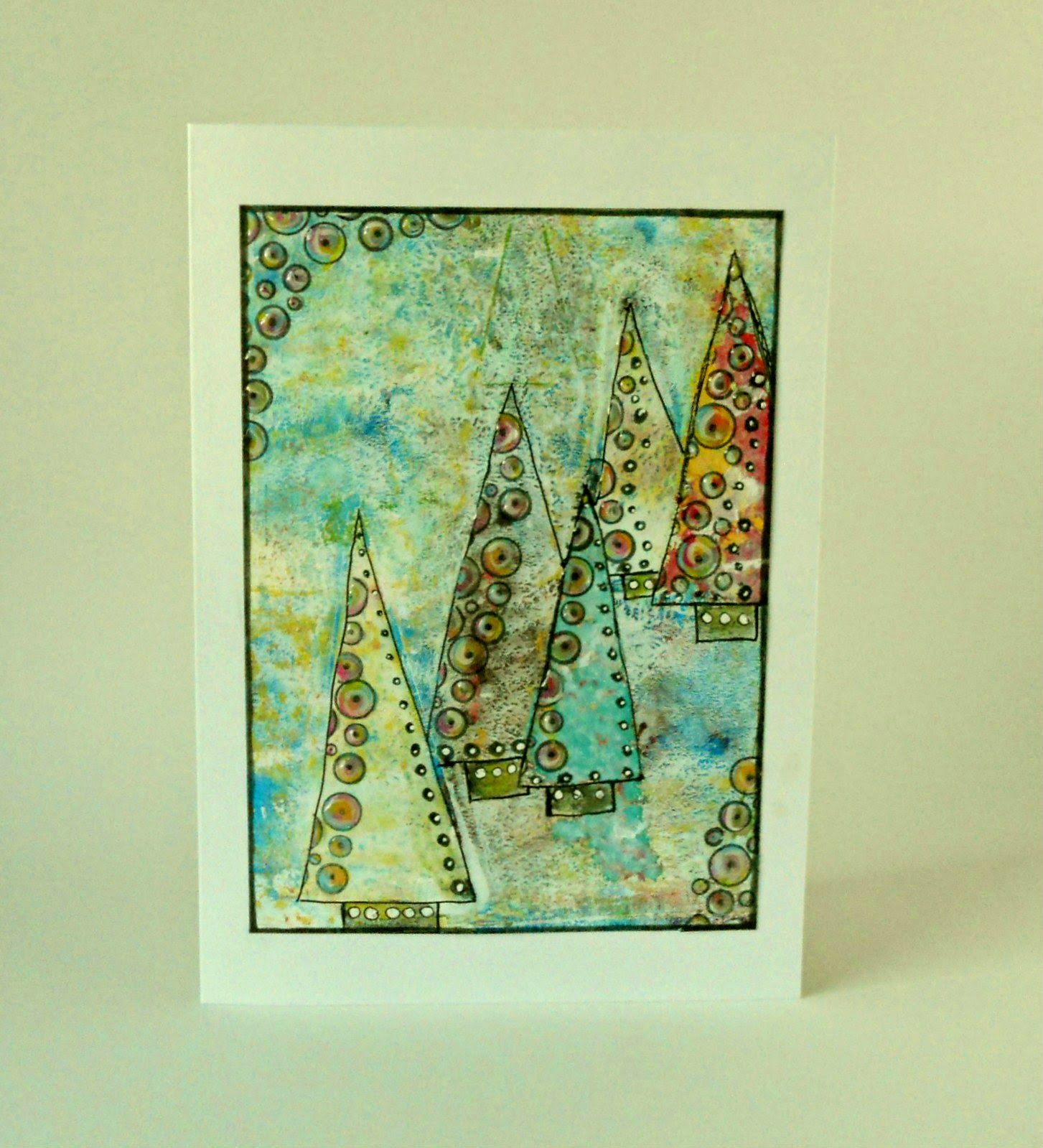 itsamistry design studio christmas card with my gelli printing plate