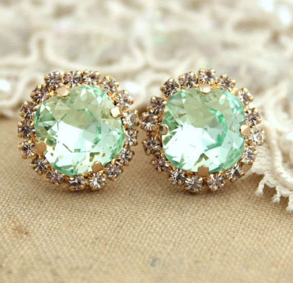 Mint Green Seafoam Crystal Vintage Earring