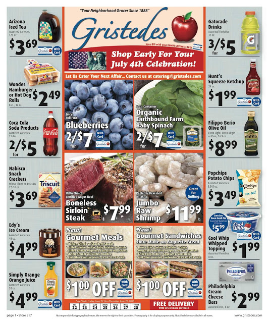 CHECK OUT ROOSEVELT ISLAND GRISTEDES Products, SALES & SPECIALS For June 22 - June 28