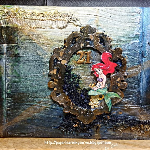 Paper Learning Curve - Grá O'Neill : EK Success Disney Collection, Prima Finnabair Bubbles, Simon Says Stamp Waves stencil, Docrafts Cameos, flowers, metal, mixed media
