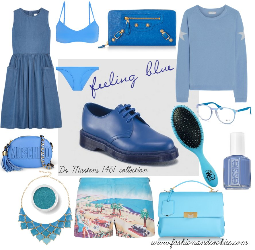 Monochrome blue looks with Dr Martens shoes on Fashion and Cookies fashion blog, fashion blogger style