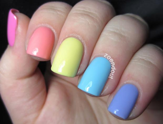 zoendout nails pastel rainbow