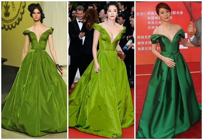 Ulyana Sergeenko Couture 2013 SS Pea-Green off-the-Shoulder Gown with Deep V Neckline 5 Looks