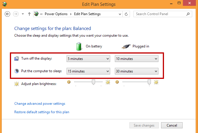 adjust power option of laptop