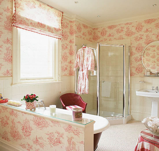 Pink girls bathrooms wallpaper design for Bathroom mural wallpaper