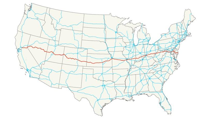 Macgellan August - Us route 50 map