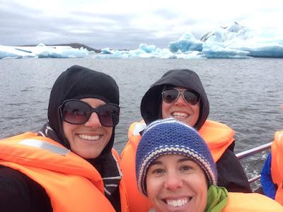 On a boat in glacier lagoon