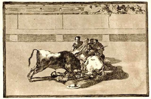 Goya, Un toréador est désarçonné et tombe sous le taureau