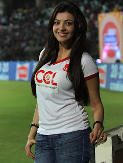 Kajal Agarwal Latest Hot Stills At Ccl Matches Saree Figure