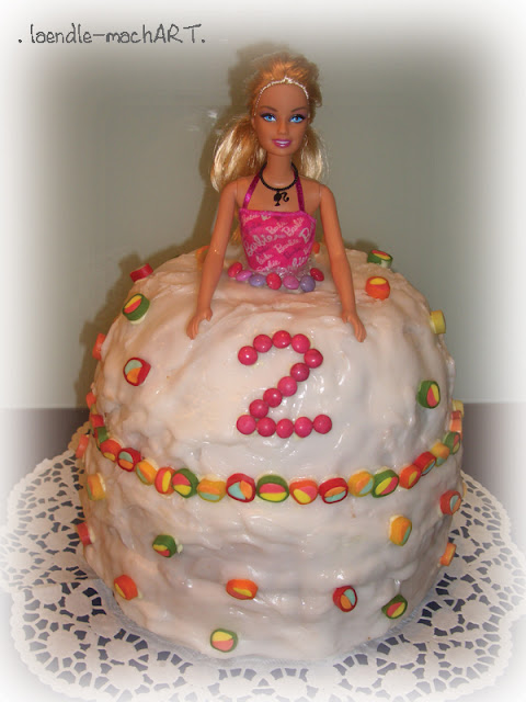 Kindergeburtstag Barbie Torte