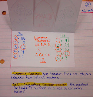 photo of greatest common factor math journal entry @ Runde's Room