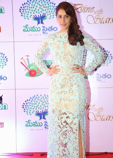 Actress Rashi Khanna Pictures in Lace Evening Dress at Memu Saitam Dinner with Stars Red Carpet  41)