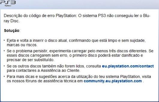 Descrição do código de erro 8002291A na PS3