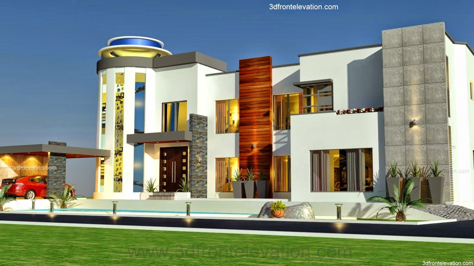 3d front 3 kanal modern contemporary house for Very beautiful house