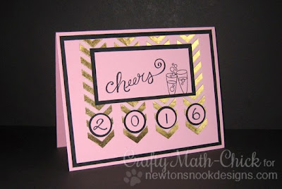Happy 2016 pink foil New Years card by Crafty Math Chick | Years for Cheers by Newton's Nook Designs