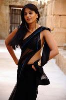 Anushka Back in Black Saree Hot Photos