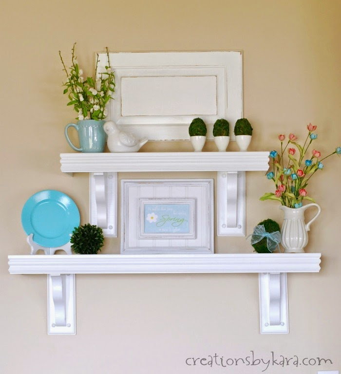 Creations by Kara shared her Diy Ballard Design Shelves all Spruced up for Easter featured at One More Time Events.com