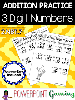 Freebie - Adding 3 Digit Numbers Worksheets