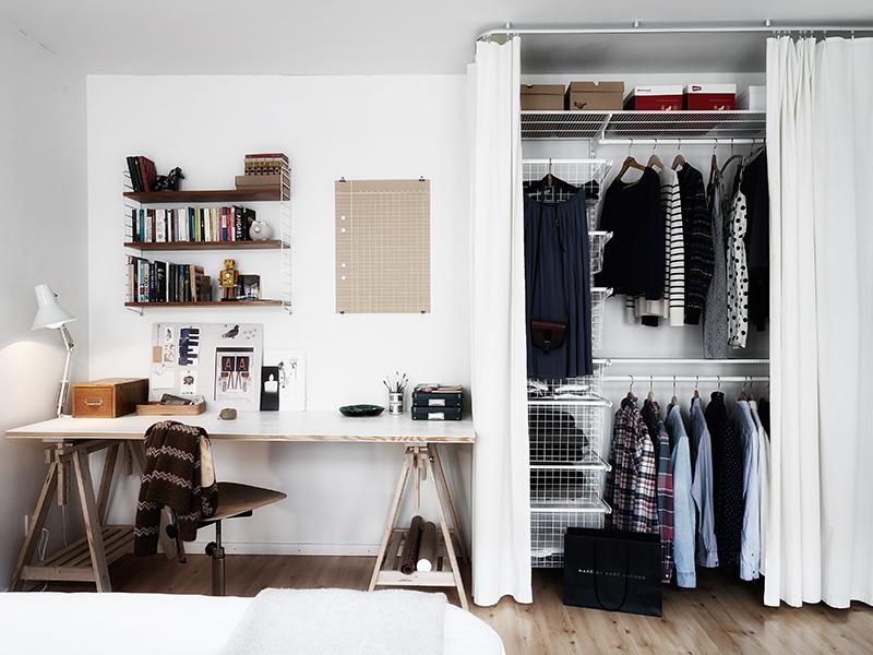 Un faro de ideas sobrio departamento en suecia - Vorhang kleiderschrank ...