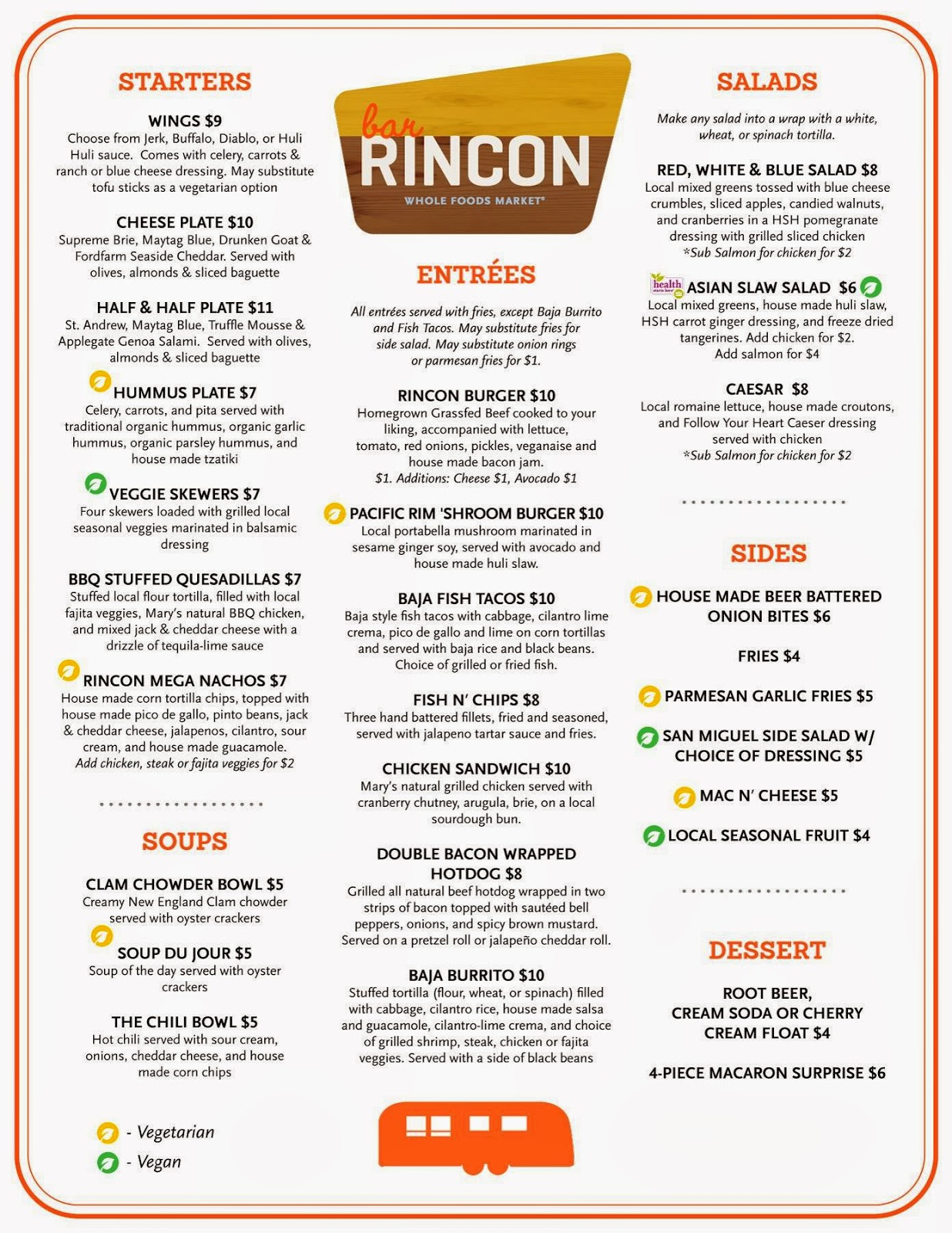 Vc menu bar rincon whole foods market oxnard for Food bar menu